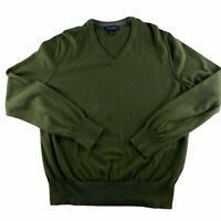 Banana Republic Men's Large Tall Cotton Cashmere Sweater  V Neck Sweater Green