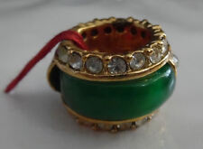 New Gorgeous Gold Plated Green Stone Barrel Round Charm Pendant Cubic Zirconia