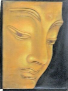 FINE ART BUDDHA FACE PORTRAIT IN GOLD ORIG CANVAS  WATER COLOR PAINTING UNFRAMED