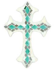 Fine Art Mosaic - Stunning  Mosaic Mirrored Cross -Green Iridescent