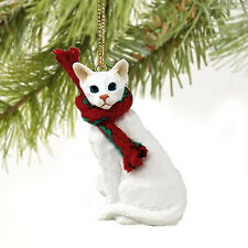 White Oriental Shorthaired Cat Tiny Miniature One Christmas Ornament