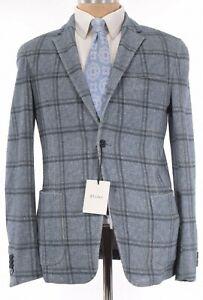 Z Zegna NWT Sport Coat / Shirt Jacket Size 38R Blue Melange Plaid $1,145