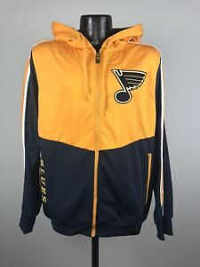 Men's St. Louis Blues Old Time Hockey Chaser Gold & Navy Full Zip Hoodie NWT XL