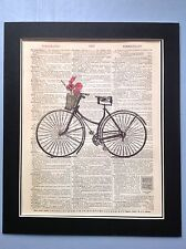 Antique Vintage Dictionary Book Page Art Antique Bike Red Poppies #76