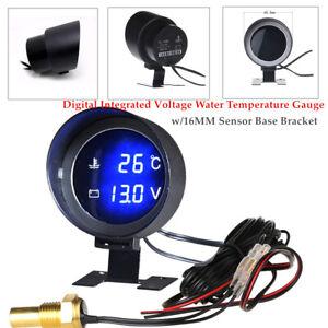 12V/24V Meter Car Digital Voltage Water Temperature Gauge w/16MM Sensor Holder