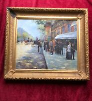Original Oil on Canvas of Paris street scene. In beautifal gold leaf Frame.