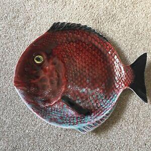 bordallo pinheiro fish, Portuguese, 27.5 Cm, Collectable, 3D, Plate, Original