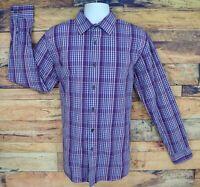 Apt. 9 Dress Shirt Mens Size L Purple Plaid 100% Cotton Long Sleeve