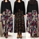 ZANZEA Women Floral Splice Long Sleeve Tunic Loose Maxi Dresses Kaftan Plus Size