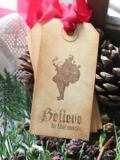 BELIEVE IN THE MAGIC-Christmas Gift Tags-Vintage Style-Handmade-Set of 10