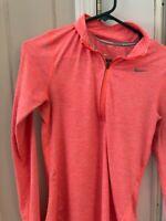 Women's Nike Dri-Fit Running Salmon Long Sleeve Pullover Shirt Size XS1/4 Zip Up