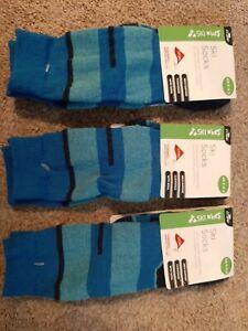 KIDS Crane ski socks green blue  9-11.5 shoes thermolite BOY GIRLS X 3 PAIRS
