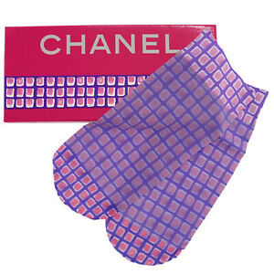CHANEL CC Logos Stockings Socks Polyamide Blend Purple Pink Italy Auth #AD733