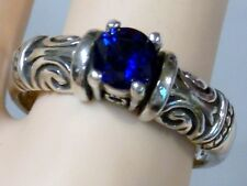 1CT BLUE SAPPHIRE RING SIZE 6 ANTIQUE 925 STERLING SILVER VINTAGE STYLE USA MADE