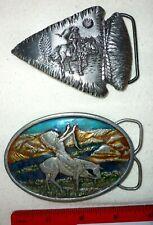 Vintage Men's Western Theme Belt Buckles Cowboy, Chief Joseph, Siskyou Buckle