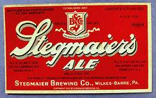 IRTP Stegmaier Brewing STEGMAIER's ALE beer label PA 12oz  PLCB-G28 Lic C-1215