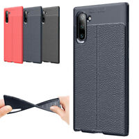 For Samsung Note 20 Ultra 10 Plus 9 8 Slim Leather Texture Rubber Cover TPU Case