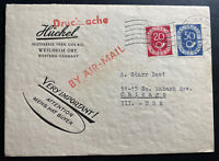 1952 Weilheim Germany Advertising Airmail cover to Chicago IL USA