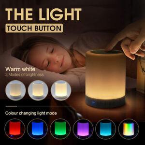 Smart LED Bluetooth Speaker Night Light Touch Sensor Lamp Music USB Rechargeable