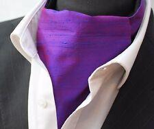 Cravat Ascot. 100% Silk Front. UK Made. Purple Dupion Silk + matching hanky.