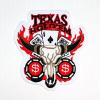 Texas Hold'em Poker Buffalo Skull Cowboy Las Vegas Casino Clothing Iron on patch