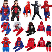 Toddler Boys Kids Spiderman Costume Clothes Hoodies Tops Pants Outfits Tracksuit