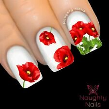 RED POPPY Anzac Day Nail Water Transfer Decal Sticker Art Tattoo