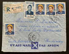 1952 Saigon Vietnam Registered Airmail cover To Pondicherry French India