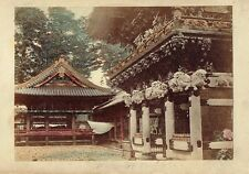 View of a Japanese Temple -1880s Hand Coloured Albumen Photograph