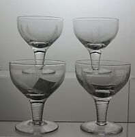 """STUART Crystal """"WOODCHESTER"""" CUT GLASSES SET OF 4 - 3 1/2"""" TALL -SIGNED"""