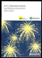 Berlin, BVG und S-Bahn, Plan für den Silvester- und Weihnachtsverkehr 2001/2002