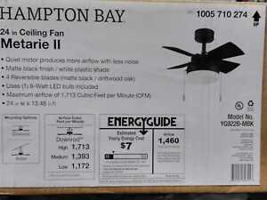 Metarie II 24 in. Indoor Matte Black Ceiling Fan with Light by Hampton Bay