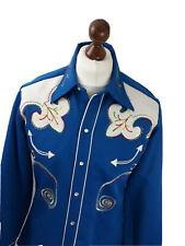 """Vintage H bar C California Ranchwear Cowboy Shirt Size Medium 15.5"""" Blue Western"""