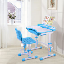 Children's Desk Height Adjustable Chair Set Child Kids Study Table Blue AB002