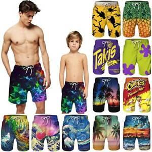 Mens Dad Kids Boys Beach Swimming Trunks Hawaii Board Shorts Swimwear Surf Pants