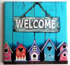 Wall Picture Plaque Vintage Retro Style Handmade, Decoupage, Welcome, Beach Hut