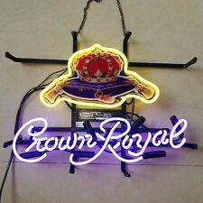 Retro Custom Crown Royal Whiskey Real Glass Neon Light Beer Bar Pub Display Sign