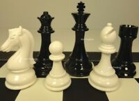 "LARGE STAUNTON BLACK & WHITE HIGH GLOSS 4 1/4"" KING CHESS MEN SET - NO BOARD"
