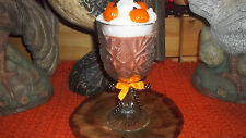 "HIGHLY Scented SOY FALL CANDLE in CUT GLASS STEMMED GOBLET 8"" Tall w/ PUMPKINS"