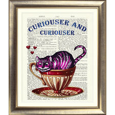 ART PRINT ANTIQUE DICTIONARY BOOK PAGE Cheshire Cat Picture Alice In Wonderland