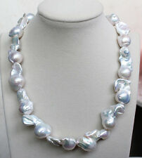 """18MM-25MM REAL HUGE AAA WHITE SOUTH SEA WHITE keshi reborn PEARL necklace 18"""""""