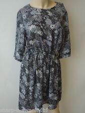 ☆ Ladies Black/White Flower Print Cinch Waist Long Top / Dress UK 12 EU 40 ☆
