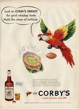 1951 Corby's Whiskey PRINT AD Parrot Great ad Fun Artwork Decor