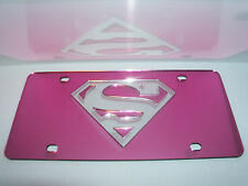 Superman Mirror Laser License Plate Pink/Silver NEW!!