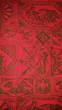 "Artex black on red Toile print cotton tablecloth 72"" x 76"" approx. vintage"