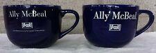 Ally McBeal Fox TV Show - Pair Oversized Promotional Blue Coffee Mugs