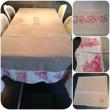 Nappe lin toile de Jouy rouge 180x300cm fait-main + 12 serviettes Shabby Chic