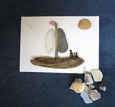 Pebble Art: Trois hommes dans un bateau sur toile Board 25 cm x 18 cm