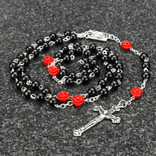 Catholic Black Pearl Beads Rosary Necklace Our Rose Lourdes Medal Cross Crucifix