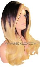 Glueless Human Hair Wig Full Lace 20 Long Black 1b Blonde 613 Ombre Balayage UK